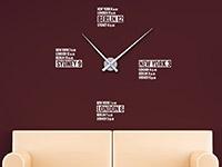 Wandtattoo Uhr Städte Zeiten im Wohnzimmer