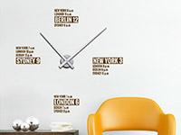 Designer Wandtattoo Uhr Städte Zeiten in Farbe