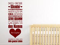 Baby Wandtattoo Große Wunder mit Wunschtext in rot