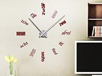 Wanduhr Wandtattoo Uhr Zahlen Schriften in Farbe