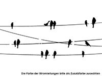Wandtattoo Stromleitungen mit Vögeln