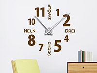 Wanduhr Wandtattoo Uhr Modernes Design in Farbe