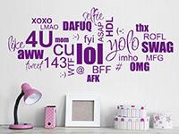 Wandtattoo Wortwolke Chat Slang im Kinderzimmer