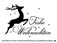 Wandtattoo Frohe Weihnachten mit Rentier Motivansicht