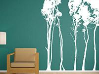 Laubwald Wandtattoo im Wohnzimmer in weiß