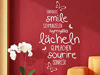 Wandtattoo Lächeln in verschiedenen Sprachen | Bild 4