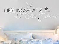 Zweifarbiges Wandtattoo Lieblingsplatz für Süße Träume im Schlafzimmer