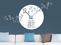 Wanduhr Wandtattoo Uhr Wie die Zeit verfliegt in weiß
