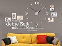Wandtattoo Uhr Verbringe deine Zeit... mit Fotorahmen in weiß