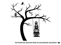 Wandtattoo Baum mit Schaukel und Eulen Motivansicht
