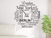 Wandtattoo Uhr Weltstädte im Wohnzimmer
