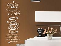 Kaffee Wandtattoo Kaffee Spezialitäten mit Kaffeebohnen in weiß