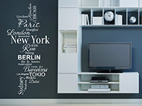 Wandtattoo Wortwolke Weltstädte im Wohnzimmer