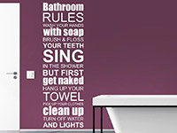 Wandtattoo Bathroom Rules