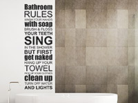 Wandtattoo Bathroom Rules im Bad