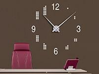 Wanduhr Wandtattoo Uhr mit Quadraten in weiß