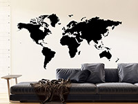 Wandtattoo Welt Weltkarte auf hellem Hintergrund