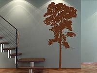Baum Wandtattoo Umriss in dunkelbraun