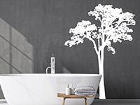 Baum Kontur Wandtattoo im Badezimmer