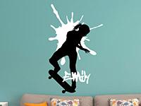 Wandtattoo Skater Girl mit Wunschname im Jugendzimmer