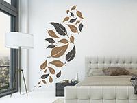 zweifarbiges Blätter Wandtattoo im Schlafzimmer