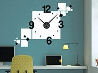 Wandtattoo Uhr Cubes im Büro in weiß und schwarz