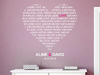 Wandtattoo Love Herz mit Namen und Datum | Bild 2