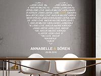 Wandtattoo Love Herz mit Namen und Datum | Bild 3