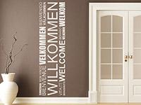 Banner Wandtattoo Willkommen in verschiedenen Sprachen