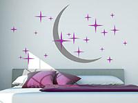 Wandtattoo Zweifarbiger Sternenhimmel mit Mond