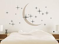 Wandtattoo traumhafter Nachthimmel im Schlafzimmer