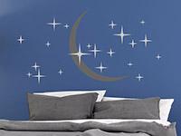 Wandtattoo Sterne und Mond auf dunklem Hintergrund