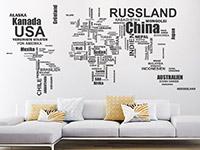 Wandtattoo Weltkarte Länder