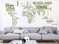 Wandtattoo Weltkarte Länder im Wohnzimmer