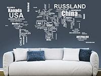 Wandtattoo Weltkarte Länder mit Ländernamen in weiß