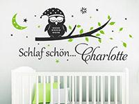 Baby Wandtattoo Schlaf schön Eule mit Name im Kinderzimmer