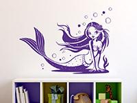 Wandtattoo Meerjungfrau im Kinderzimmer in violett