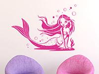 Zauberhafte Wandtattoo Meerjungfrau in pink