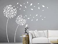 Pusteblumen Wandtattoo Blätterblumen in weiß