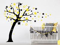 Zweifarbiges Wandtattoo Sternenbaum in schwarz und gelb