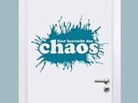 Teenager Wandtattoo Hier herrscht das Chaos auf einer Tür