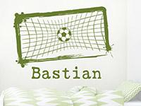 Wandtattoo Fußball im Tor mit Name | Bild 2