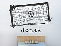 Wandtattoo Fußballtor mit Wunschname im Kinderzimmer