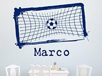 Sport Wandtattoo Fußballtor mit Wunschname in Farbe