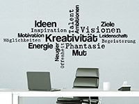 Wandtattoo Kreativität Wortwolke am Arbeitsplatz
