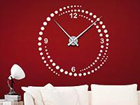 Wanduhr Wandtattoo Uhr Wirbel in weiß