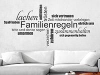 Wandtattoo Familienregeln Wortwolke im Wohnzimmer