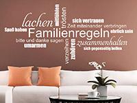 Familien Wandtattoo Familienregeln Wortwolke in weiß