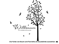 Wandtattoo Baum Willkommen Zuhause Motivansicht