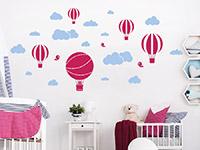Wandtattoo Set Wolken und Heißluftballons im Kinderzimmer